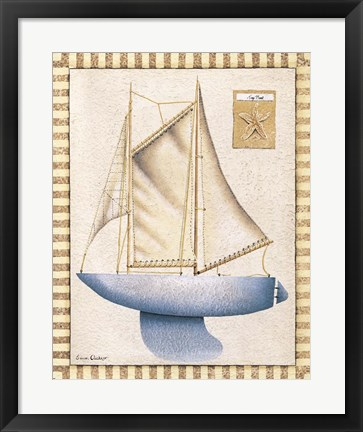 Framed Blue Sailboat Print
