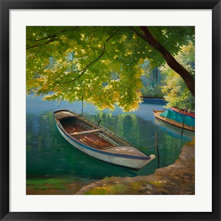 Framed Barca sul Fiume Print
