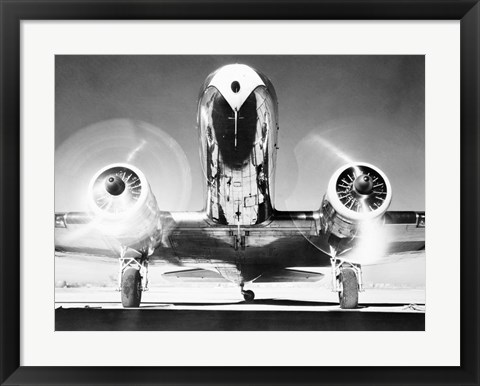 Framed Front View of Passenger Airplane Print