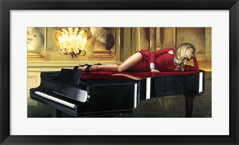 Framed Piano Lady Print