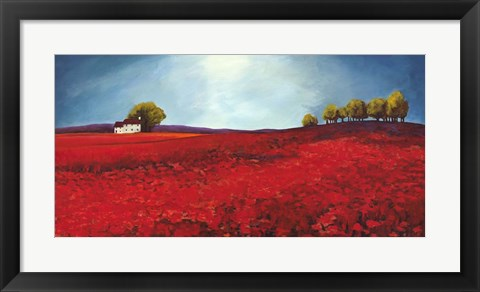 Framed Field of Poppies Print