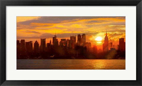 Framed Sunset over Manhattan Print