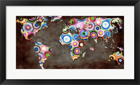 Framed World in Circles Print