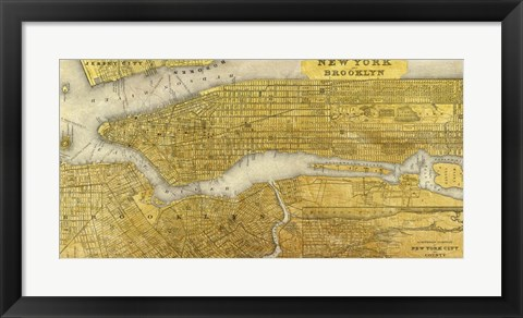Framed Gilded Map of NYC Print