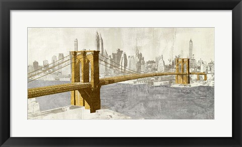 Framed Gilded Brooklyn Bridge Print