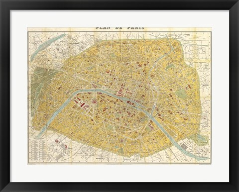 Framed Gilded Map of Paris Print
