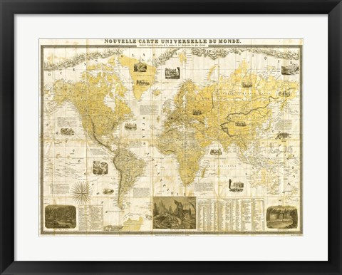 Framed Gilded 1859 Map of the World Print