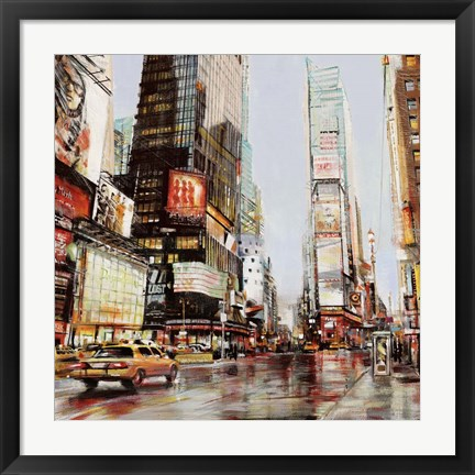 Framed Taxi in Times Square Print