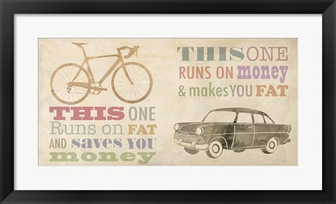 Framed Bike vs Car Print