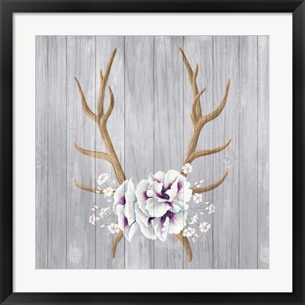Framed Antlers and Poppies I Sq Print