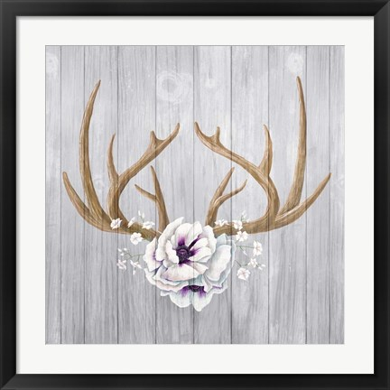 Framed Antlers and Poppies II Sq Print