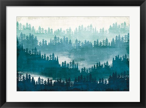 Framed Mountainscape Blue Print