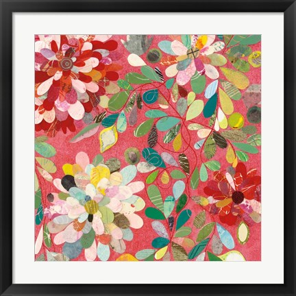 Framed Red and Pink Dahlia II Print