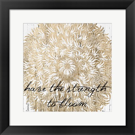 Framed Metallic Floral Quote II Print