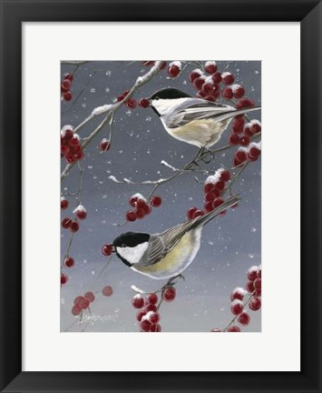 Framed Winter Chickadees II Print