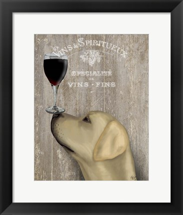 Framed Dog Au Vin Yellow Labrador Print