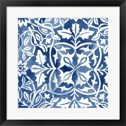 Framed Watercolor Indigo I Print