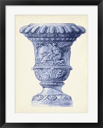 Framed Palace Urns in Indigo II Print