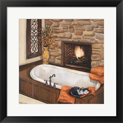 Framed Fireplace Escape I Print