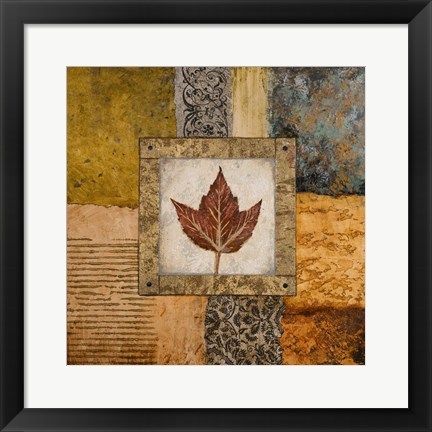 Framed Fallen Leaf I (red) Print