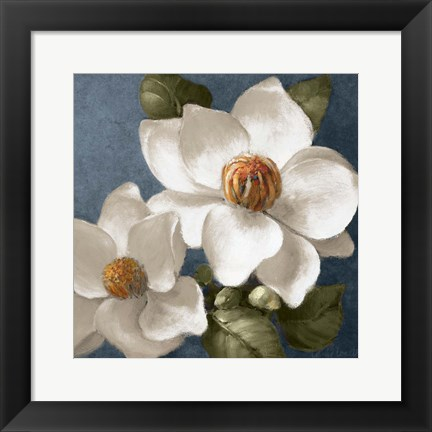 Framed Magnolias on Blue II Print