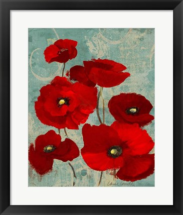 Framed Kindle's Poppies I Print