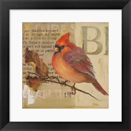Framed Red Love Birds I Print
