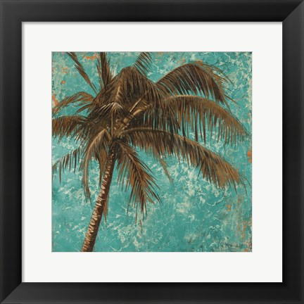 Framed Palm on Turquoise I Print