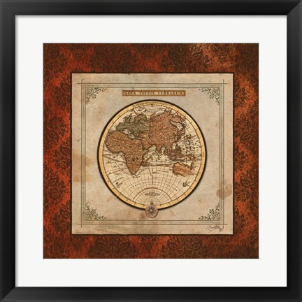 Framed Red Damask Map II Print