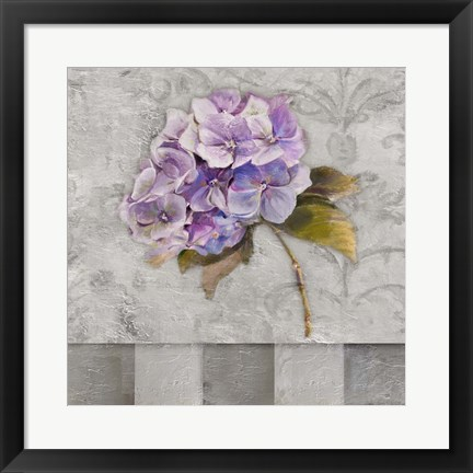 Framed Hydrangeas & Stripes II Print