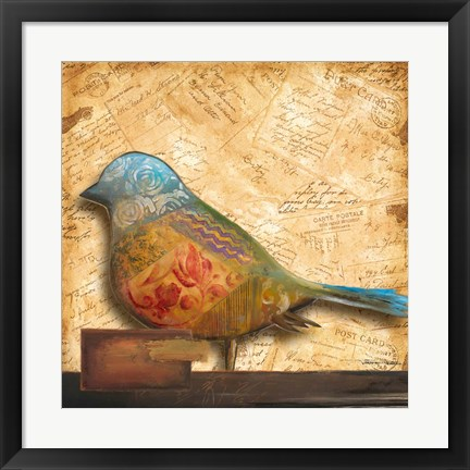 Framed Bird of Collage I Print