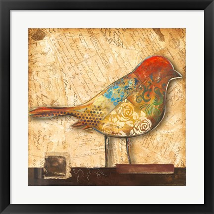 Framed Bird of Collage II Print