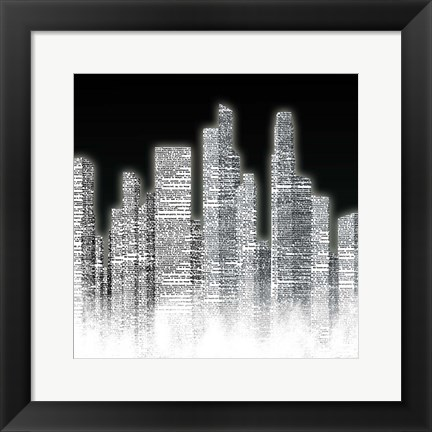 Framed Black and White City I Print