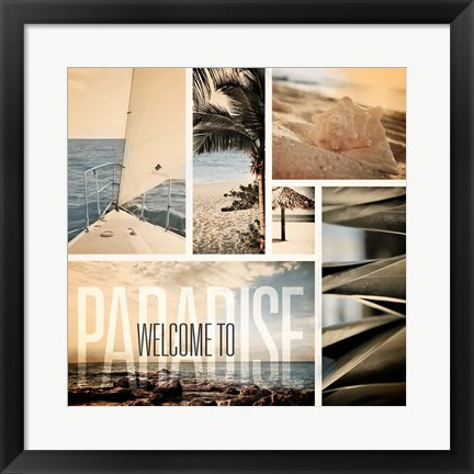 Framed Coastal Collage II Print