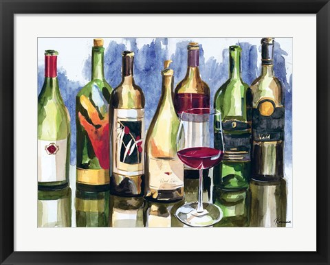Framed Bottles Reflect II Print