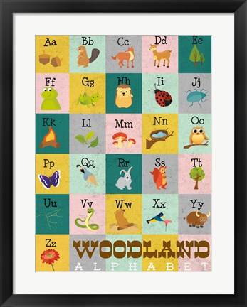 Framed Woodland Alphabet Print
