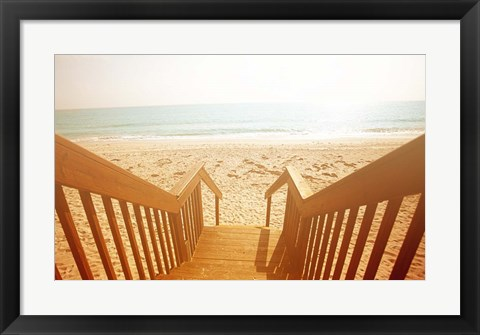 Framed Beach Stairs Print