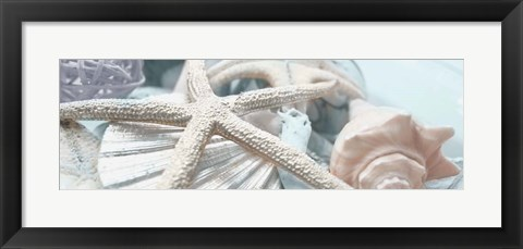 Framed Gold Seashells I Print