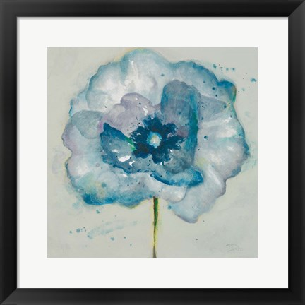 Framed Flower in Blue II Print