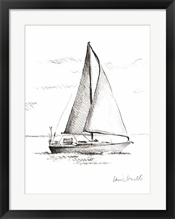 Framed Coastal Boat Sketch I Print