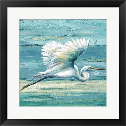 Framed Great Egret I Print