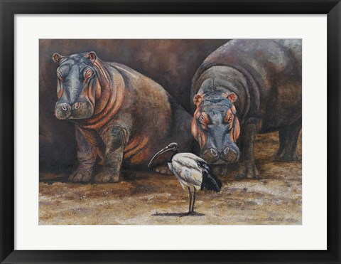Framed Baby Hippos Print