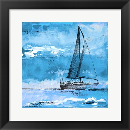 Framed Coastal Boats in Watercolor I Print