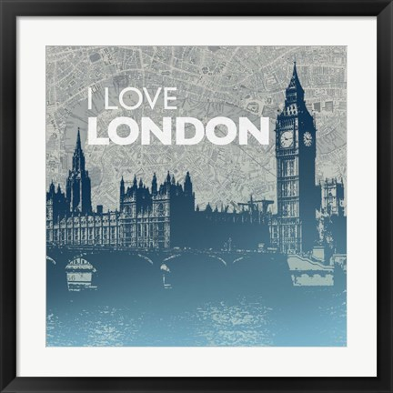 Framed City Love I Print