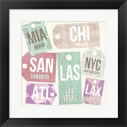 Framed City Tags Square I Print