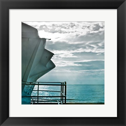 Framed On a Teal Beach I Print