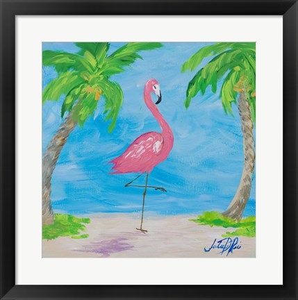 Framed Fancy Flamingos I Print