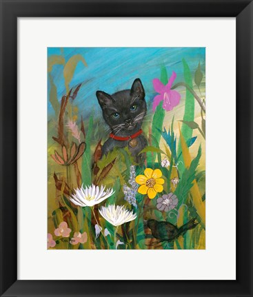 Framed Cat in the Garden Print