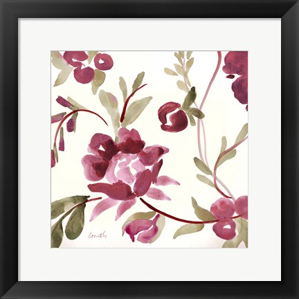 Framed French Floral in Marsala Print