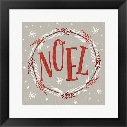 Framed Christmas Wreaths II Print
